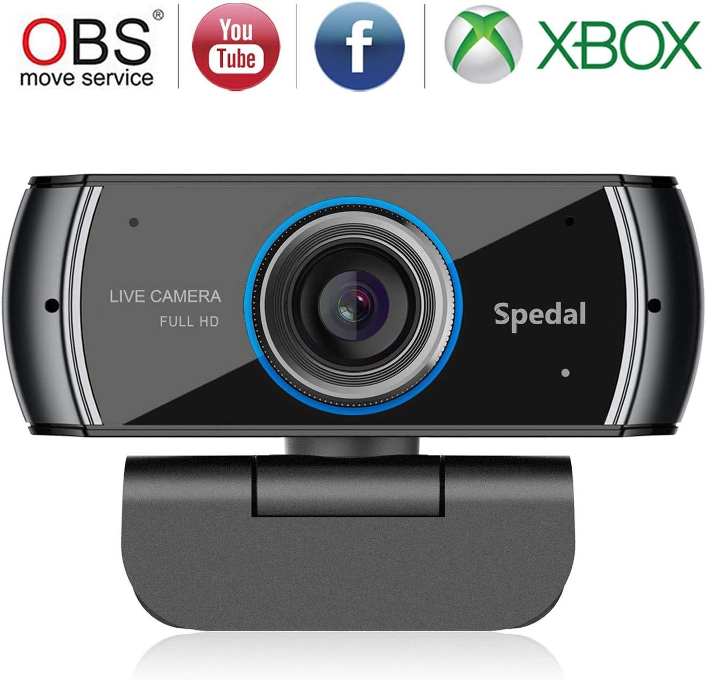 Spedal Full HD Webcam 1080p, Streaming Cámara Web con Micrófono, USB Webcam para Xbox OBS XSplit Skype Facebook, Compatible con Mac OS Windows 10/8/7