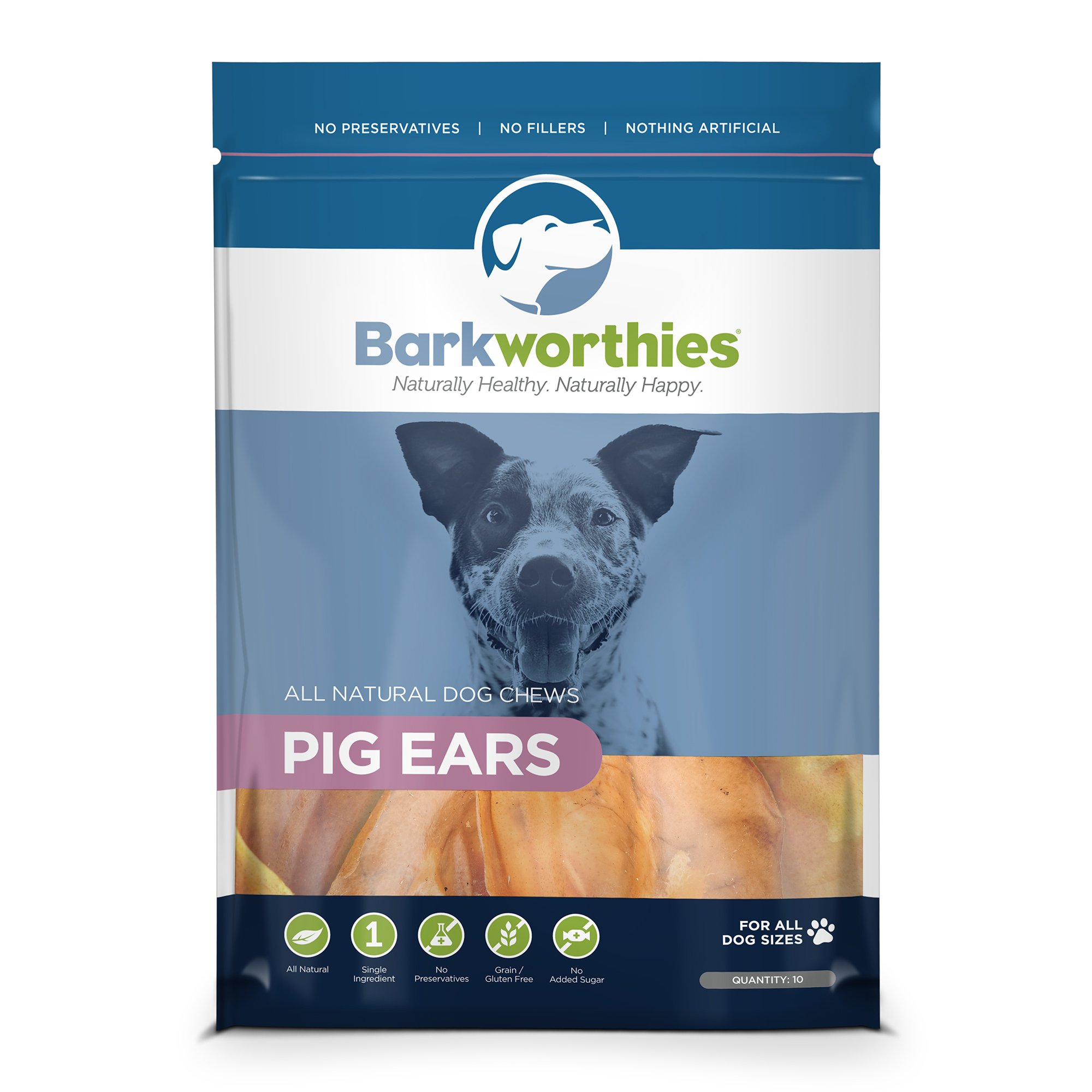 Barkworthies 10-Pack Pig Ears Chew for Pets