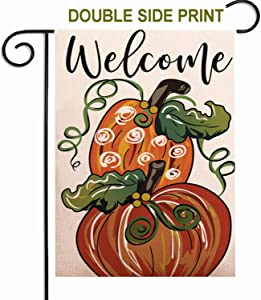 ZUEXT Welcome Fall Pumpkin Garden Flag 12.5x18 Inch Double Side Print,Vintage Autumn Thanksgiving Rustic Cotton Linen Yard Sign for Outdoor Decoration,Heavy Duty Durable Decorative Door Hanger Flags