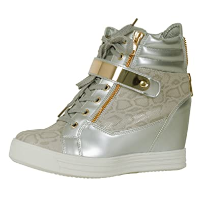 248c2bd05081 ByPublicDemand Tiffany Womens Hidden Wedge Lace Up Zip Up Trainers Silver  Snake Size 8 UK