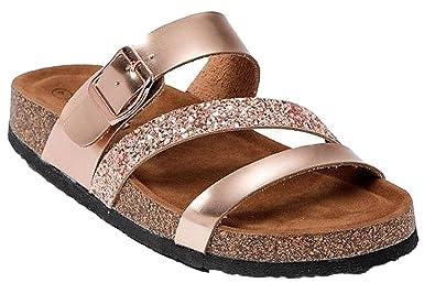 c25e88b60a28 WW Leo-14 Women Strappy Gladiator Comfy Flats Glitter Open Toe Slides Rose  Gold 7.5