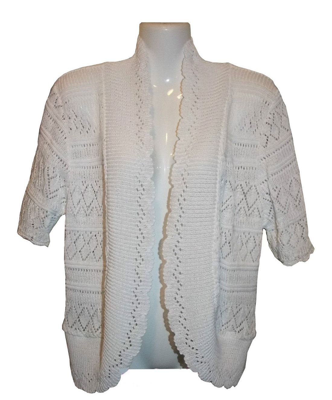 Rimi Hanger Women Long Sleeve Diamond Crochet Knited Cardigan US 12-28