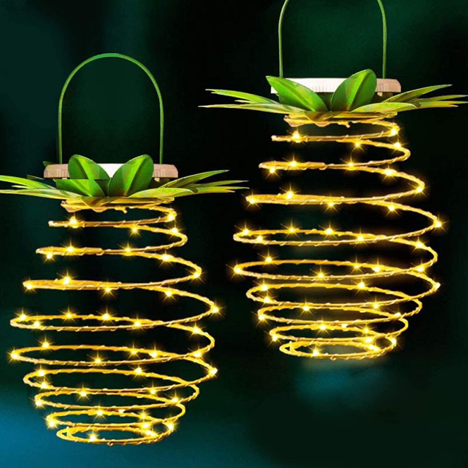 Upgraded 60LEDS Pineapple Solar Lights,Solar Hanging Pineapple Outdoor Lantern,Solar Led Warm Fairy String for Patio Path Home Décor Lighting .(2-Pack)