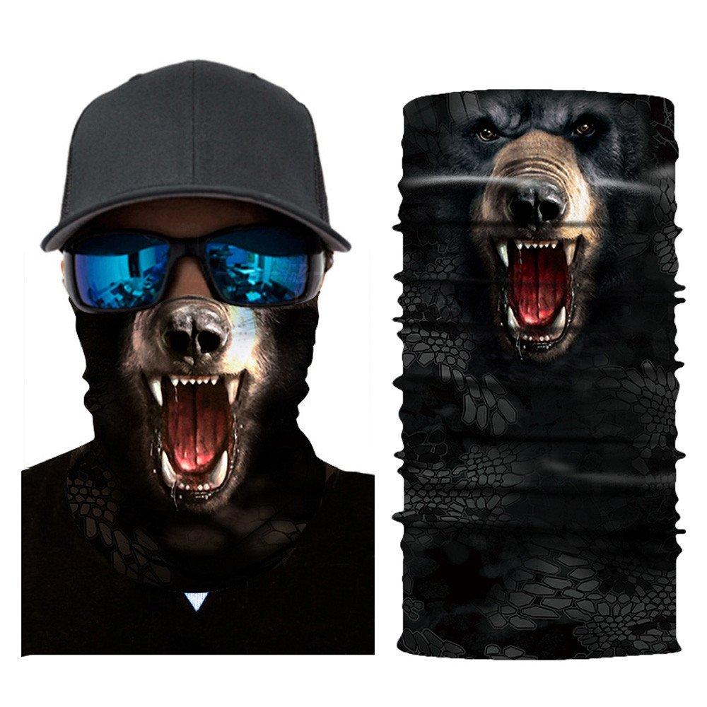 Glumes Face Mask Half Sun Dust Protection Vivid 3D Animal Tube Mask Seamless Durable Face Mask Bandana Skeleton Face Shield Motorcycle Fishing Hunting Cycling Halloween Party (J)