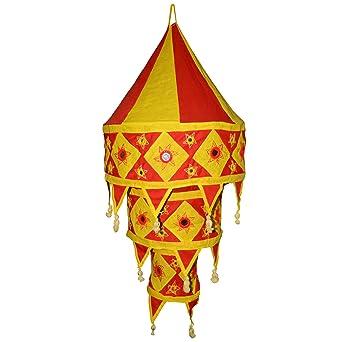 Et Rouge Abat Jour Indien Ronde Lanterne Jaune Patchwork Suspension 80vOmnyNw