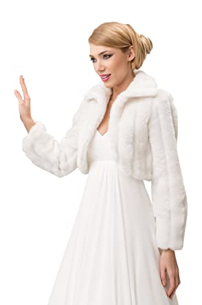014b21b19 OssaFashion Wedding Mink Faux Fur Bridal Jacket Shrug Collar Cape Long  Sleeve Bolero Full Lined Ivory