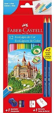 Lapis De Cor Sextavado Ecolapis 12 Cores C/Kit - Pacote com 12 Faber Castell, Multicor