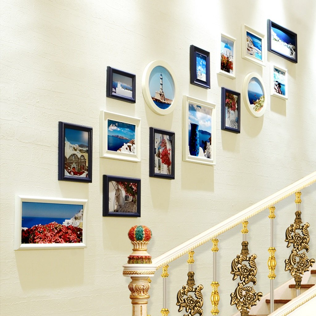 Combination photo wall 15 box Mediterranean style decorations stairs creative combination corridor frame wall ( Color : White and blue ) by Photo Frame Set