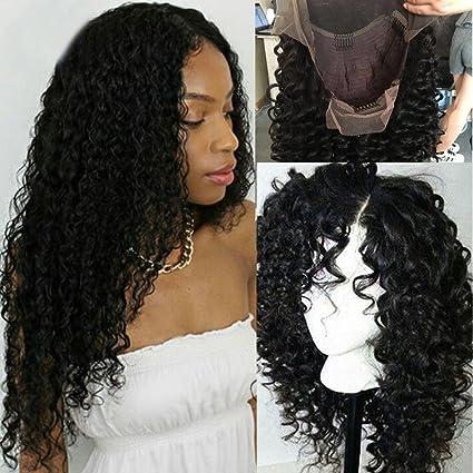 Peluca natural de color negro, sin pegamento en el frente, con encaje, pelucas