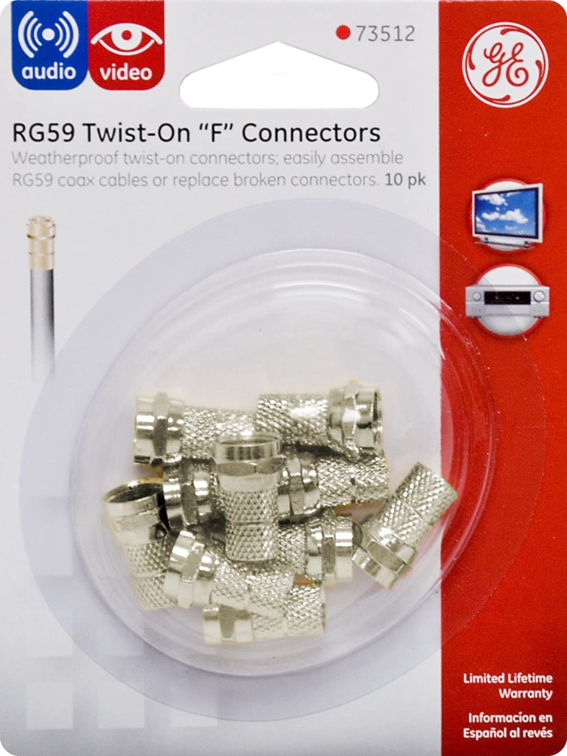 Amazon.com: GE RG59 Twist On Coaxial F Connector, 10 Pack, Weather Proof Coax Tips, 73512: Home Audio & Theater