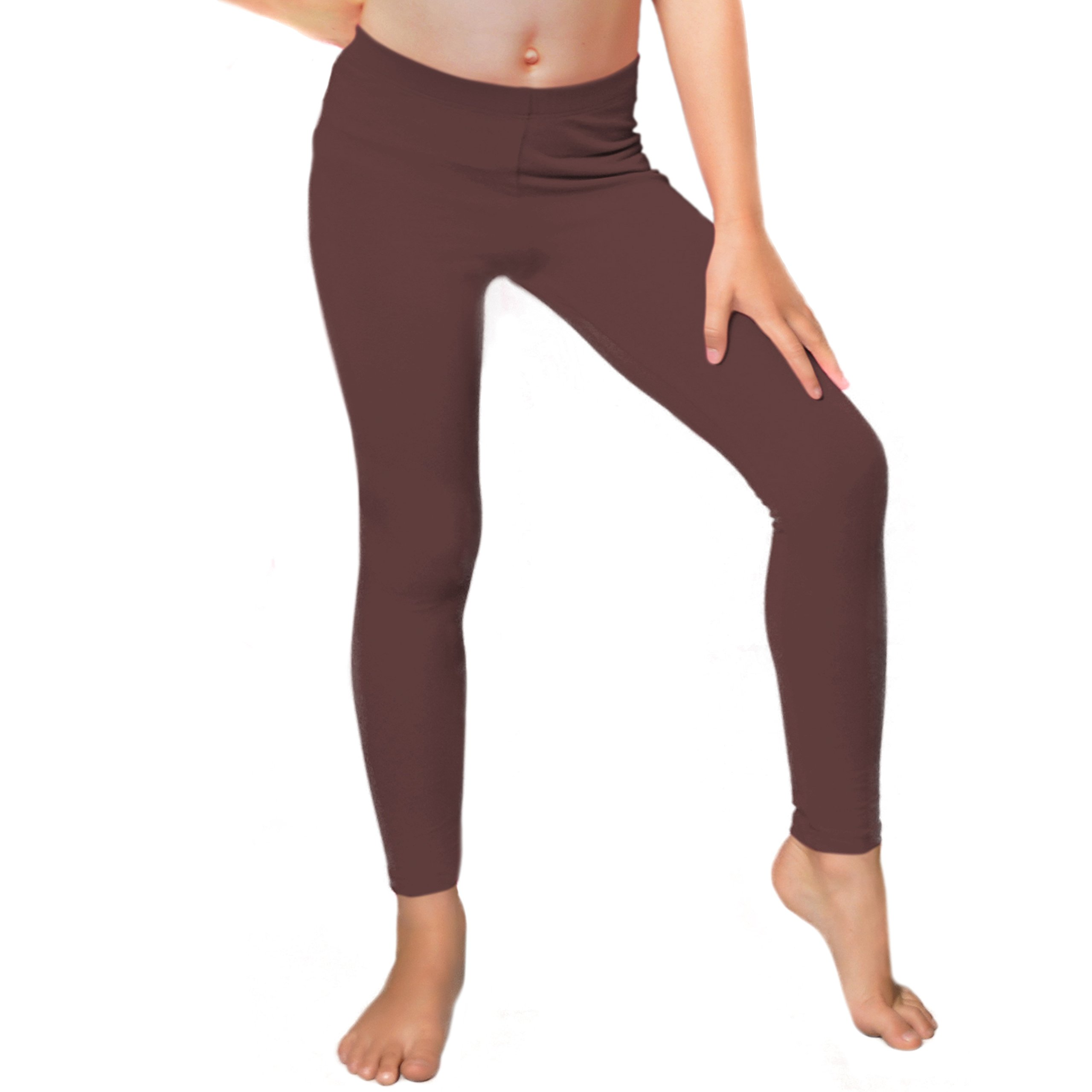 Stretch is Comfort Girl's Cotton Footless Leggings Brown Small