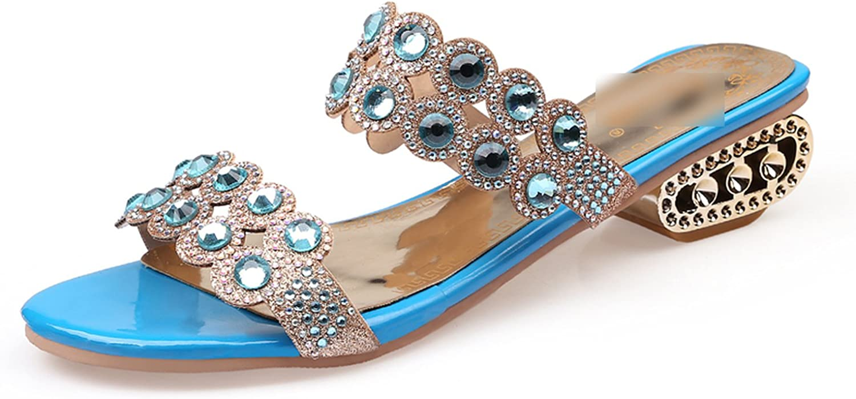 New-Loft Size 36-43 Summer Rhinestone Cut-Outs Medium Heel Sandals Open Toe Shoes