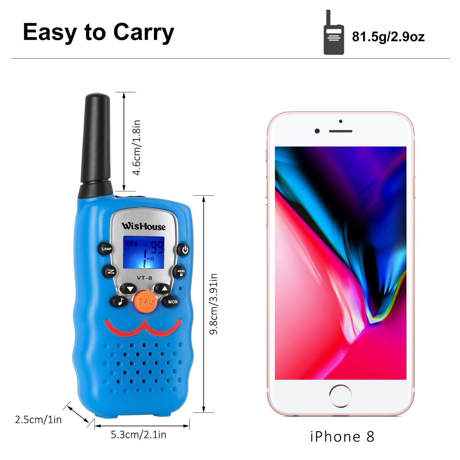 Walkie Talkie 4 Pack,Voice Activation Walkie Talkies for Boys, Best Toys Walky Talky 3 Miles Long range 22 Channels Handheld FRS GMRS Two Way Radios Hunting Hiking Camping (VT-8 Blue) by Wishouse (Image #5)