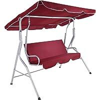 TecTake 3 Sitzer Hollywoodschaukel Gartenschaukel mit Sonnendach | witterungsbeständig | stabiles Stahlrohrgestell