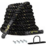 KingSo Battle Rope 1.5 Inch Heavy Battle Exercise Training Rope 30ft Length Workout Rope 100% Dacron Fitness Rope for…