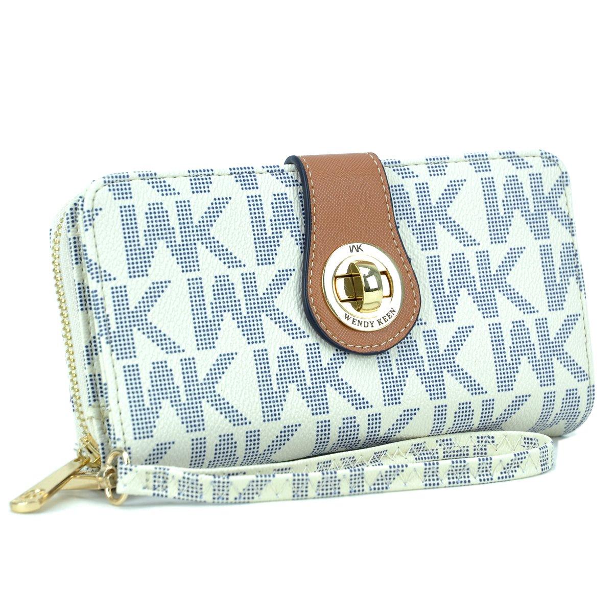 MMK Collection WK Logo Women Double layer Zip Around & Twist lock Wallet(WK912) (MA-WK-912-WT)