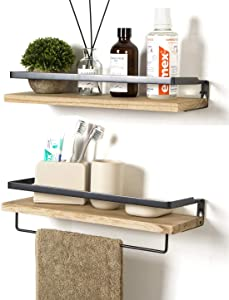 SODUKU Floating Shelves Wall Mounted Storage Shelves for Kitchen, Bathroom,Set of 2 Natural
