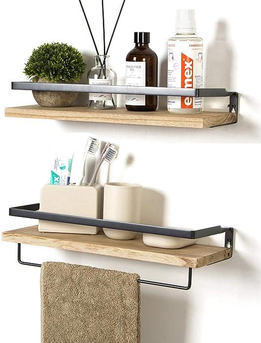 SODUKU Floating Shelves Wall Mounted Storage Shelves for Kitchen, Bathroom,Set of 2 Natural