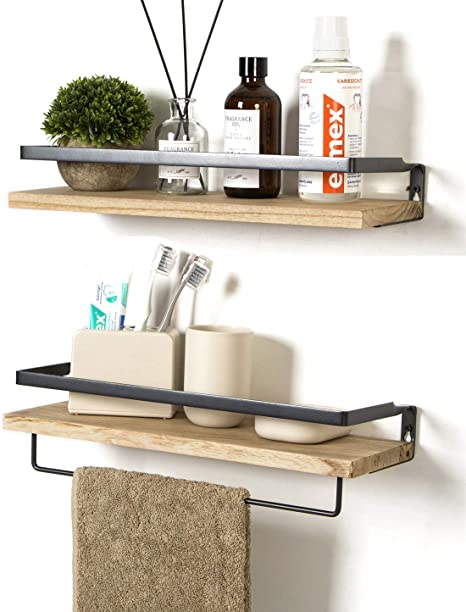 Soduku Floating Shelves Wall Mounted Storage Shelves For Kitchen Bathroom Set Of 2 Natural Amazon Co Uk Kitchen Home