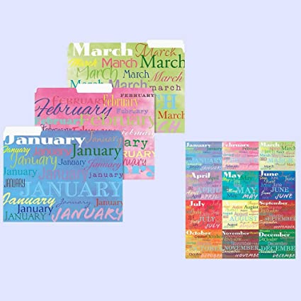 12 Months File Folders ~ Decorative Tax Organizer ~ January Through  December ~ School Papers Home