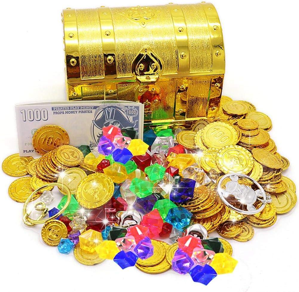 Caja Decorativa De Recuerdo De Almacenamiento De La Caja Del Cofre Del Tesoro Que Incluye Varios Tesoros: Amazon.es: Hogar