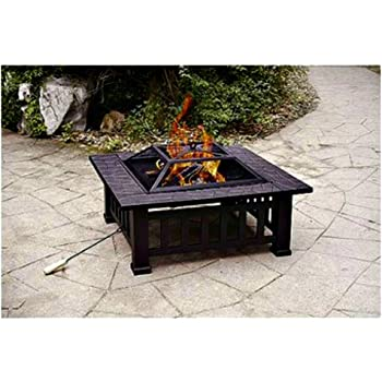 Amazon Com Patio Fire Pit With Cover 32 Inch Backyard