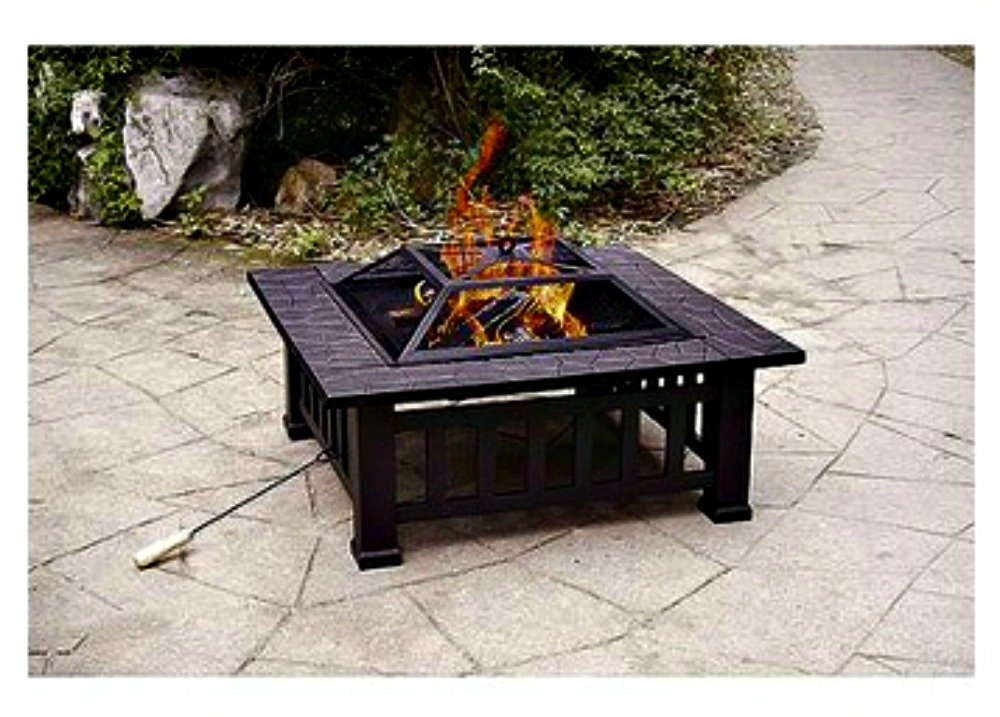 Amazoncom Patio Fire Pit with Cover 32 Inch Backyard Fireplace