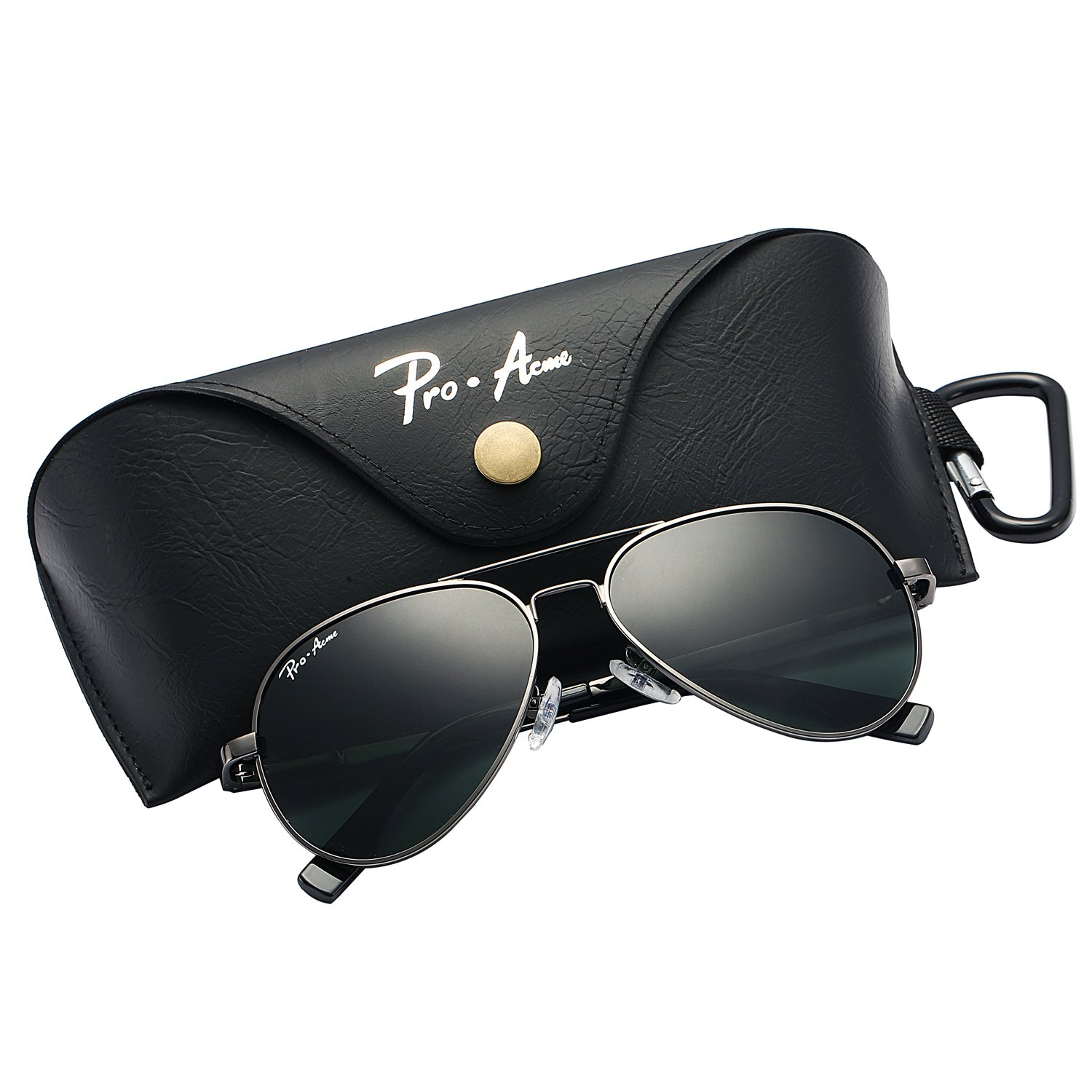 Pro Acme Small Polarized Aviator Sunglasses for Kids and Youth Age 5-18 (Gunmetal Frame/G15 Lens)