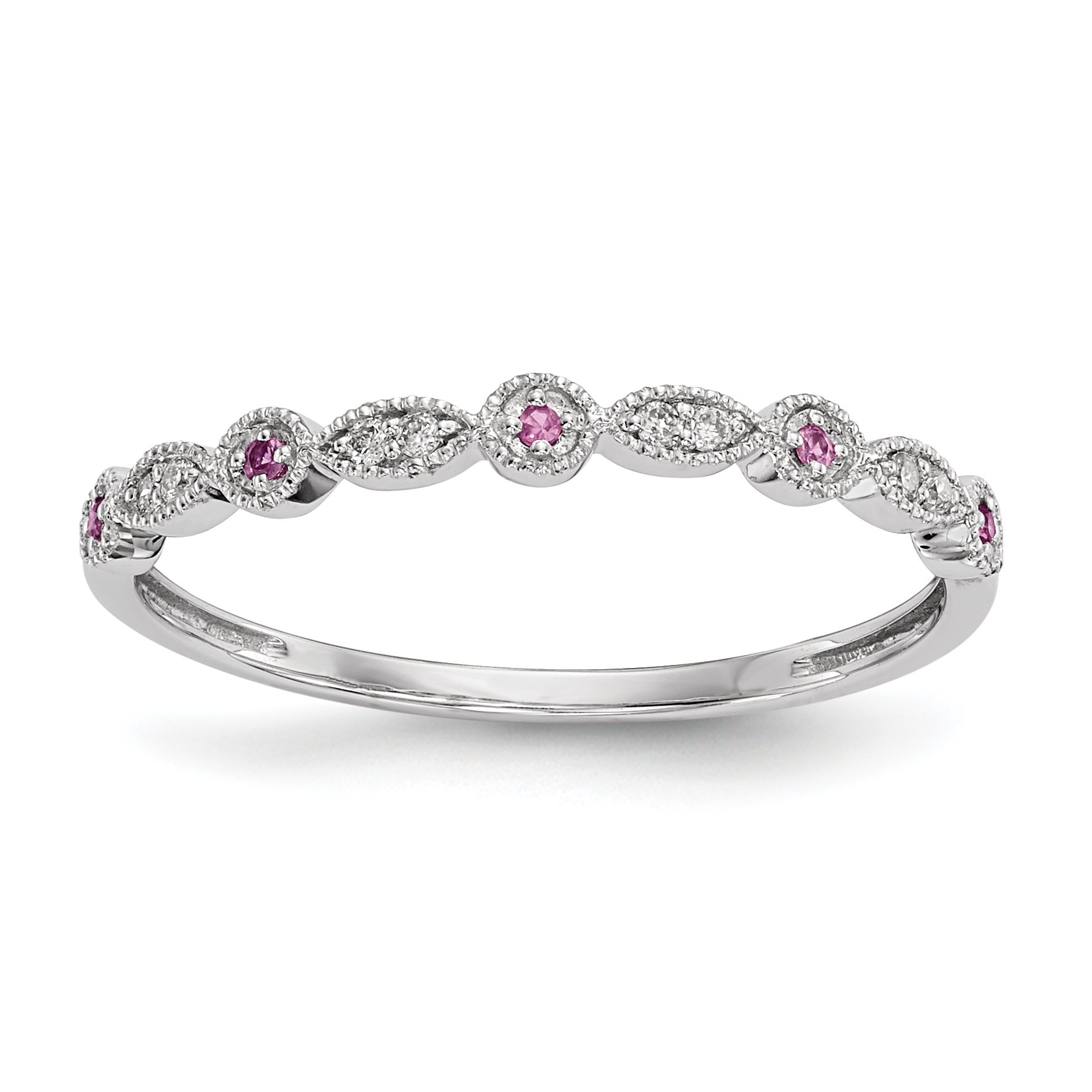 ICE CARATS 14k White Gold Diamond Pink Sapphire Band Ring Size 6.75 Gemstone Fine Jewelry Gift Set For Women Heart