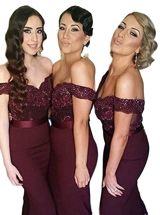 Gotidy Womens Mermaid Off Shoulder Beaded Lace Burgundy Bridesmaid Dresses GTD278 at Amazon Womens Clothing store: