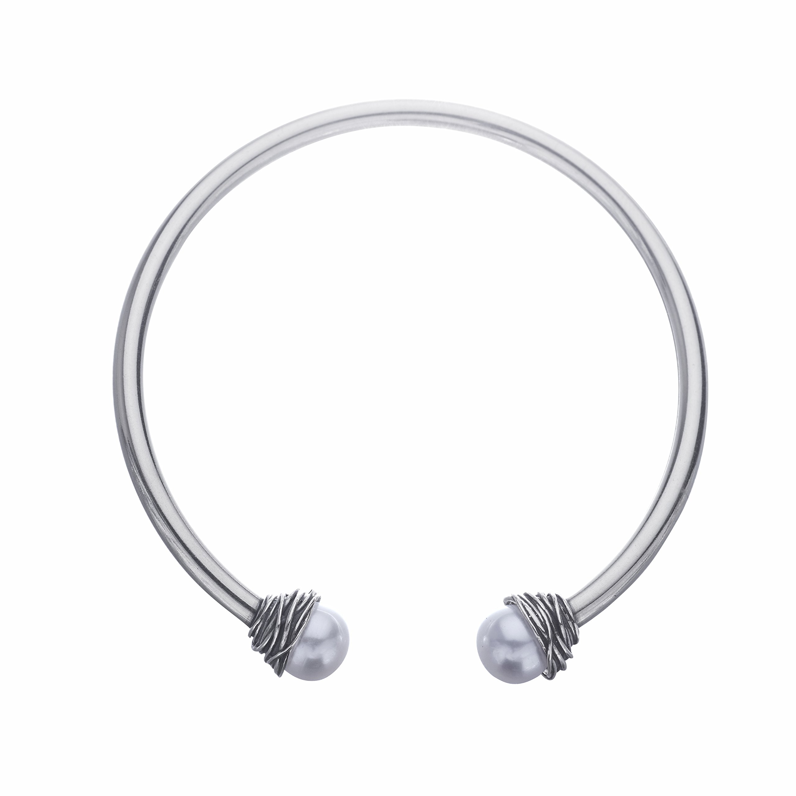 Paz Creations .925 Sterling Silver and Freshwater Cultured Pearl Flex Cuff (6.75)
