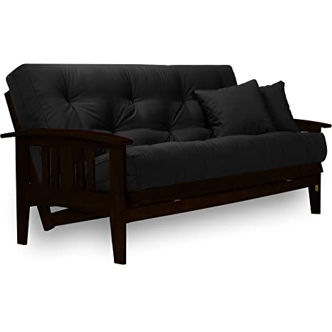Westfield Rich Espresso Futon Frame - Large Queen Size, Warm Black Finish,  Made of Solid Wood, Mission Style Futon Sofa Sleeper Frame with Curved ...