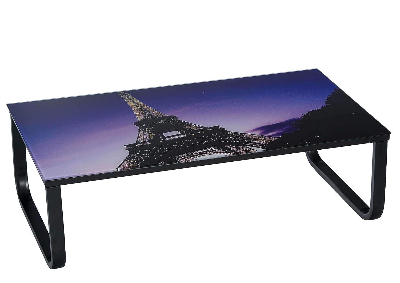 Struttura in Metallo Nero Verniciato Dimensioni: Lap 105x33x55 cm Edo Tavolino da Soggiorno con Piano Tavolo in Vetro Stampato Disponibile con 2 Diversi Motivi Avanti Trendstore Eifel Tower