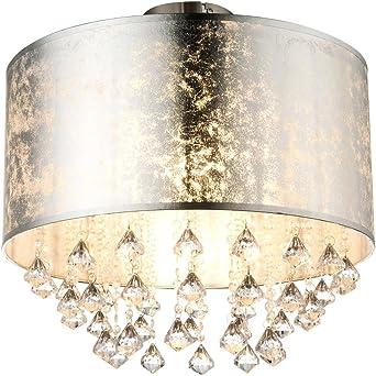 LED Design Decken Lampe Kristall Wohn Ess Zimmer Beleuchtung Gold Textil Leuchte