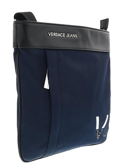 versace jeans e1yrbb 3270088 metal logo black leather side bag super ... 67762e71eaac4