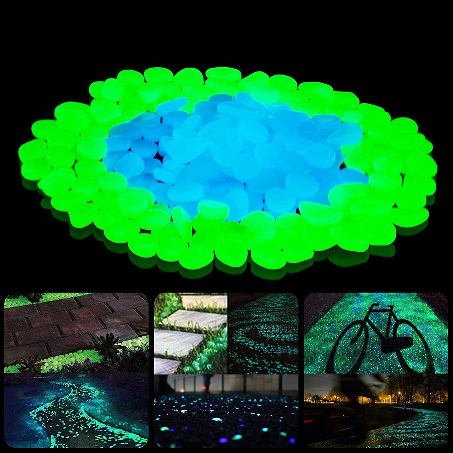 Glowing Rocks, Glow in the Dark Pebbles Stones for Outdoor Decorative , Garden Lawn Yard, Aquarium, Walkway, Fish Tank,Pathway,Driveway, Luminous Pebbles Powered by Light or Solar-Recharge Repeatedly