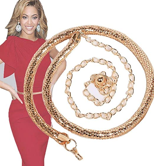 1254e3cdbdaa Ama women gold snake metal chain waist dress belt strap waistband gold jpg  522x561 Female metal