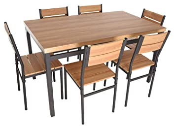 Amazon.com: Zenvida - Juego de mesa de comedor rectangular y ...