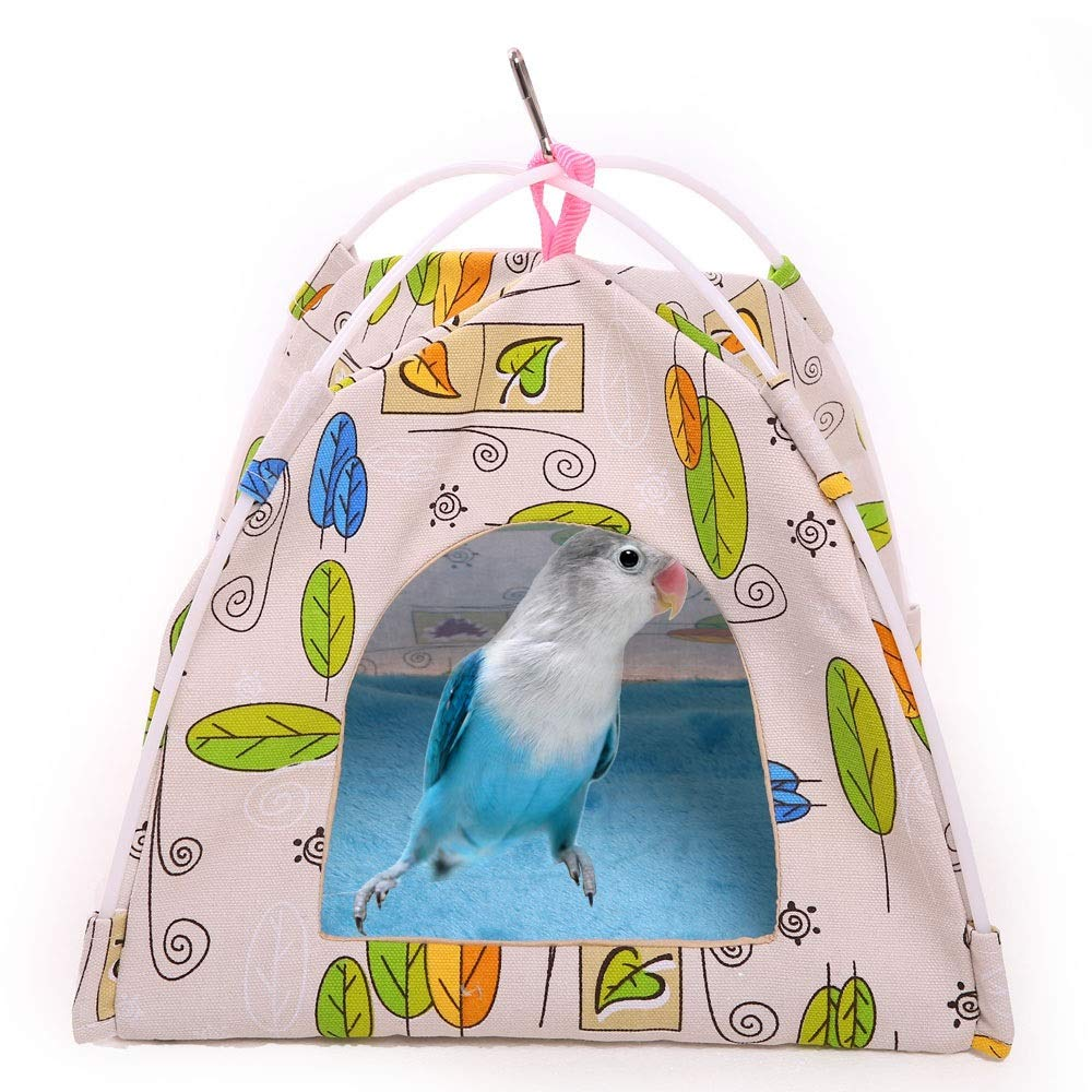QBLEEV Bird Nest Hut Hammock,Parrot Tent House Bed Habitat Hideaway Reversible Cushion Mat Placed onto The Birdcage by a Metal Clasp,Fit for Budgerigar Parakeet Macaw Amazon Cockatoo Lovebird