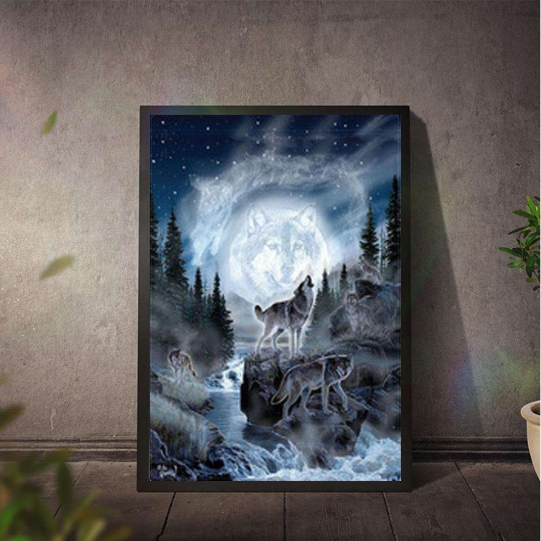 sunnymi Weihnachten 5D Diamond Painting ☆Kürbiswagen Bär Wolf ...