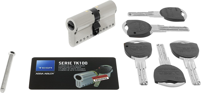 TESA 3012424 Assa Abloy, TK153535N, Cilindro de Alta Seguridad, TK100, Doble Embrague, Leva Larga, Niquelado, 35 x 35 mm