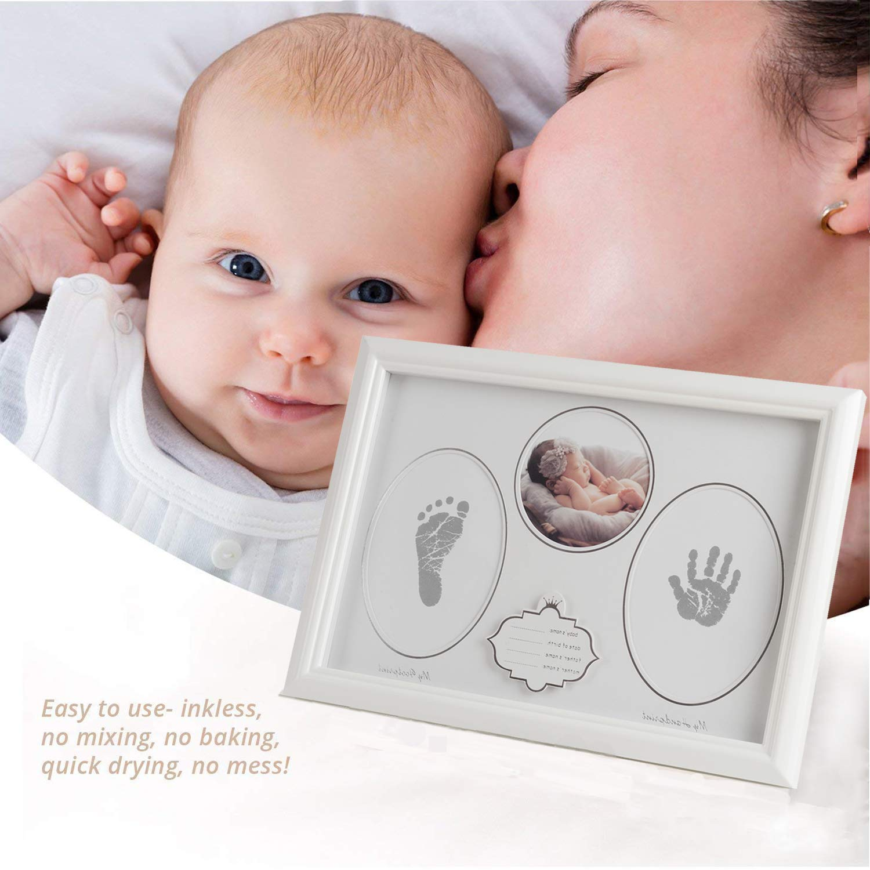 Olele Baby Picture Frame Babies Handprint /& Footprint for Keepsake Photo Wooden Frames for New Moms