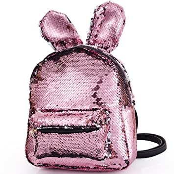 e4d61b966a Magic Sequins Backpack with Cute Rabbit Ear Small Fashion Flip Sequin  Shoulder Bag Schoolbag Daypack Knapsack