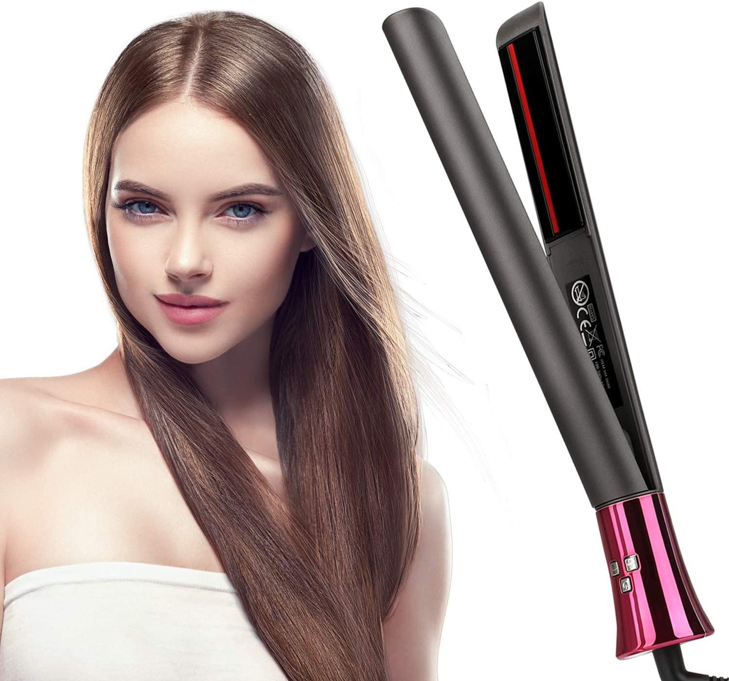 Flat Iron for Hair, MANLI Professional Infrared Ceramic Hair Straightener and Curler 2 in 1, Flat Iron for All Hair Types with 3D Floating Titanium Plates Adjustable Temperature, LED Display