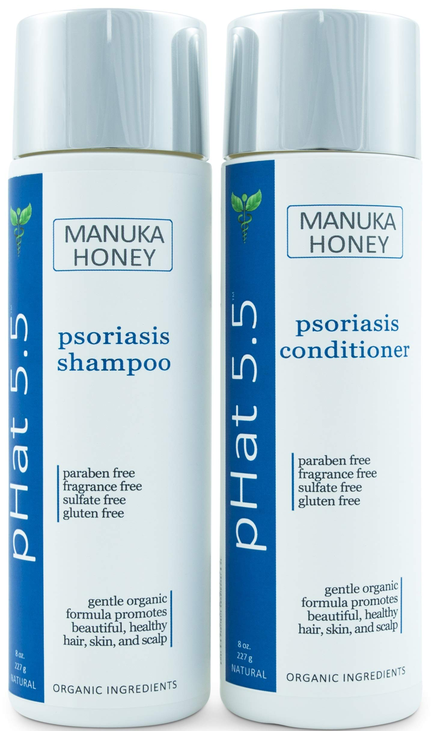 Psoriasis Shampoo and Conditioner Set for Dry and Itchy Scalp Treatment - Organic and Natural Formula - Gentle for Sensitive Skin with Manuka Honey and Aloe Vera - Sulfate and Paraben Free (8 oz) by pHat 5.5