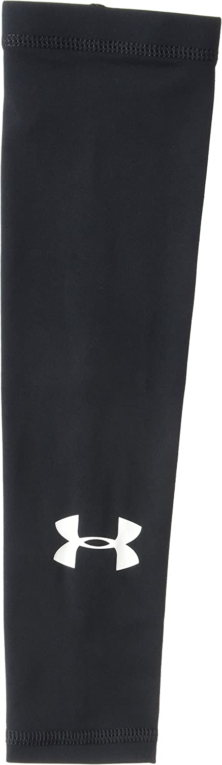 Under Armour Boys' Performance HeatGear Arm Sleeve, Black (001)/White, One Size Fits All: Clothing