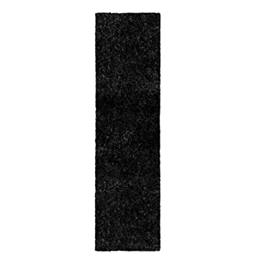 Blue Nile Mills Collection Hand Woven Elegant and Soft Shag Rug (2.6X8 Runner) - Black