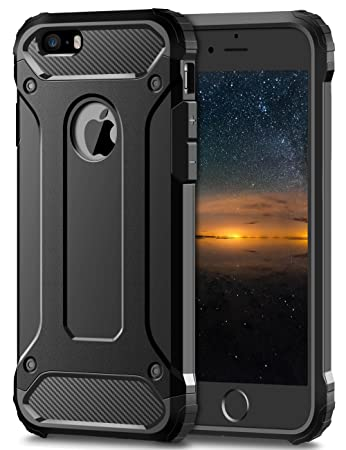 Coolden iPhone SE Hülle, Premium [Armor Serie] iPhone 5S Outdoor Stoßfest Handyhülle Silikon TPU + PC Bumper Cover Doppelschi