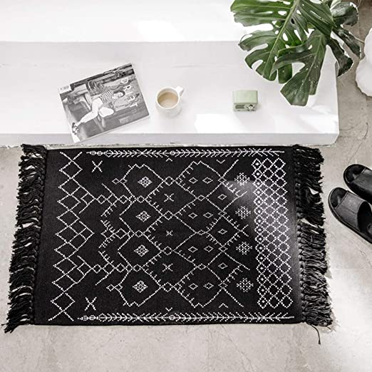 Amazon Com Boho Bathroom Mat 2 X3 Black Bath Rug Cute Accent Geometric Farmhouse Chic Moroccan Kitchen Rugs Patterned Bohemian Tassel Cotton Woven For Front Door Hallway Entryway Washable Bedroom Living Room Kitchen