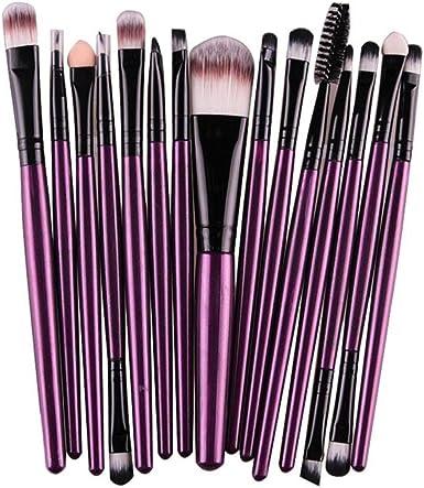 Tefamore Conjunto De Brochas Cepillo Herramientas De Maquillaje Kit De Tocador Lana (15 piezas-color) (Morado): Amazon.es: Ropa y accesorios